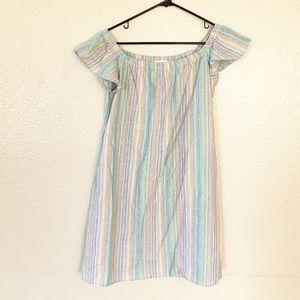 ODDY Pastel Candy Striped Linen Mini Dress Multi L